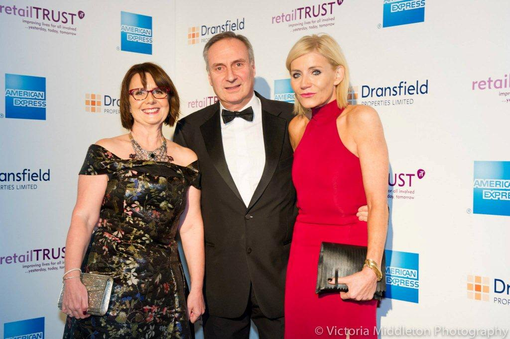 Wendy Hallett MBE, Michael Green, Development Director, Retail Trust and Michelle Collins, Actress, at the Retail Trust Celebration